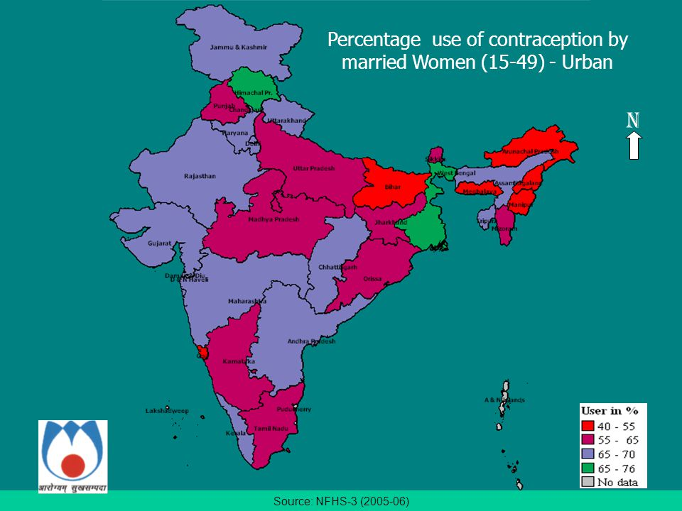 Source: NFHS-3 (2005-06) Percentage use of contraception by married Women (15-49) - Urban N