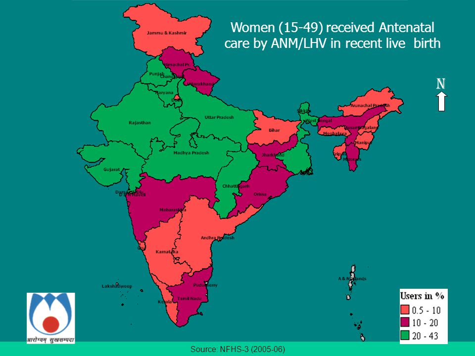 Source: NFHS-3 (2005-06) N Women (15-49) received Antenatal care by ANM/LHV in recent live birth
