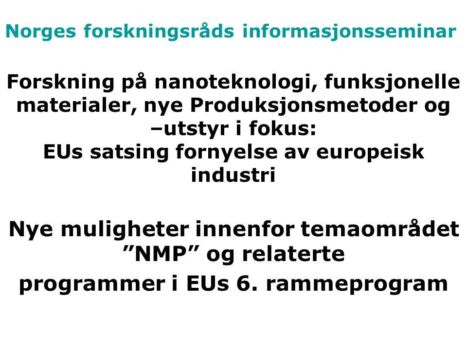 Norges forskningsråds informasjonsseminar Forskning på nanoteknologi, funksjonelle materialer, nye Produksjonsmetoder og –utstyr i fokus: EUs satsing fornyelse av europeisk industri Nye muligheter innenfor temaområdet NMP og relaterte programmer i EUs 6.