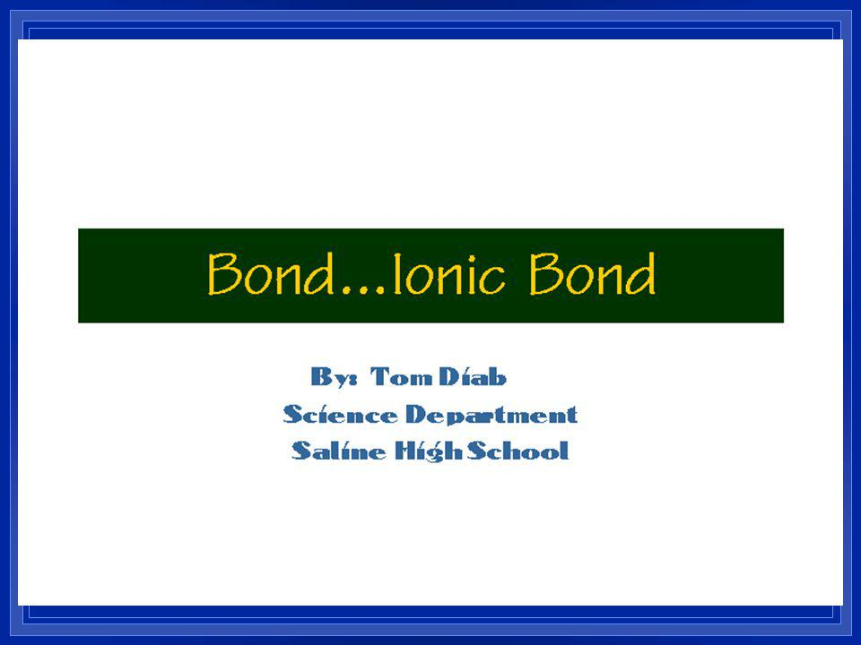 Ionic Bonding l Anions and cations are held together by opposite charges. l Ionic compounds are called salts. l Simplest ratio is called the formula u