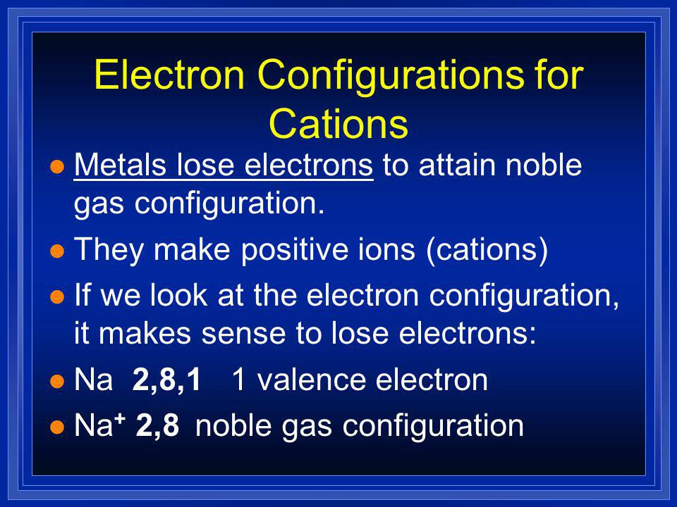 Ionic Bonding l Anions and cations are held together by opposite charges.