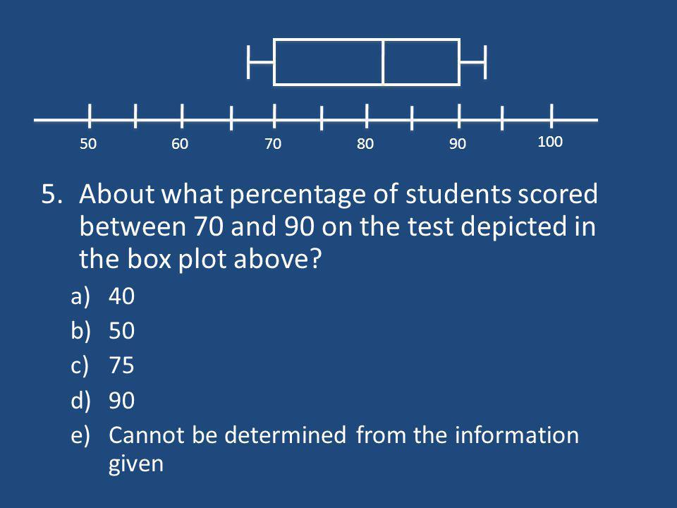 5.About what percentage of students scored between 70 and 90 on the test depicted in the box plot above? a)40 b)50 c)75 d)90 e)Cannot be determined fr