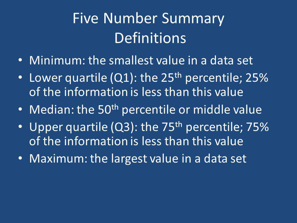 Five Number Summary Definitions Minimum: the smallest value in a data set Lower quartile (Q1): the 25 th percentile; 25% of the information is less th