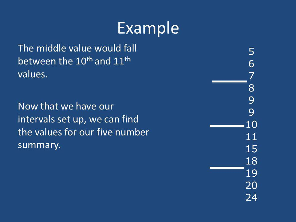 Example The middle value would fall between the 10 th and 11 th values. 5 6 7 8 9 9 10 11 15 18 19 20 24 Now that we have our intervals set up, we can