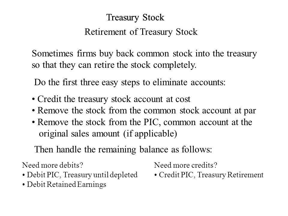 Treasury Stock Retirement of Treasury Stock Treasury Stock Sometimes firms buy back common stock into the treasury so that they can retire the stock completely.