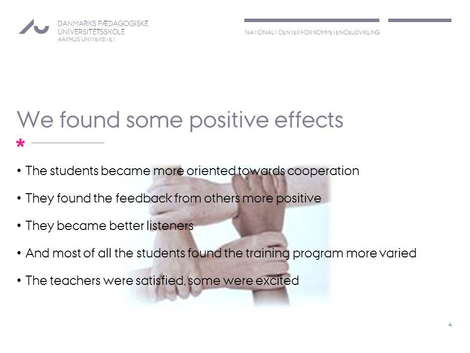 NATIONALT CENTER FOR KOMPETENCEUDVIKLING DANMARKS PÆDAGOGISKE UNIVERSITETSSKOLE AARHUS UNIVERSITET * We found some positive effects The students becam