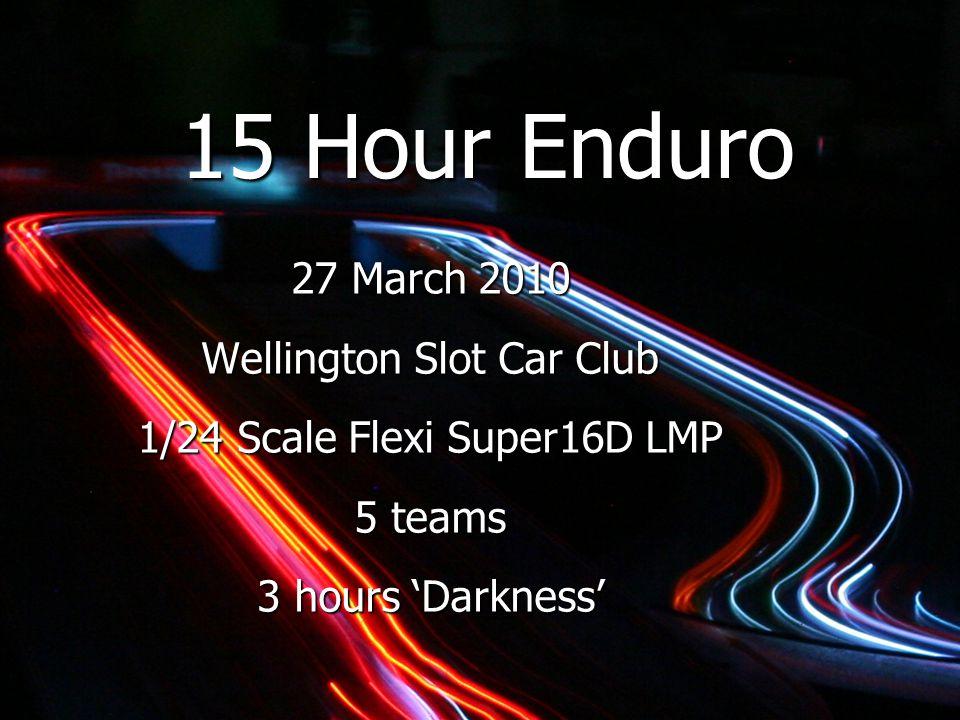 15 Hour Enduro 27 March 2010 Wellington Slot Car Club 1/24 Scale Flexi Super16D LMP 5 teams 3 hours 'Darkness'