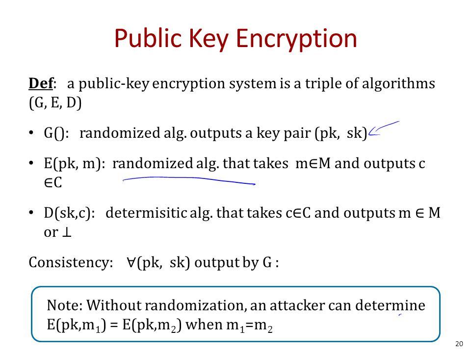 Public Key Encryption Def: a public-key encryption system is a triple of algorithms (G, E, D) G(): randomized alg. outputs a key pair (pk, sk) E(pk, m