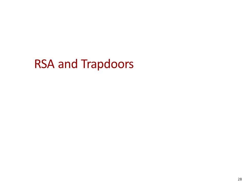 RSA and Trapdoors 28