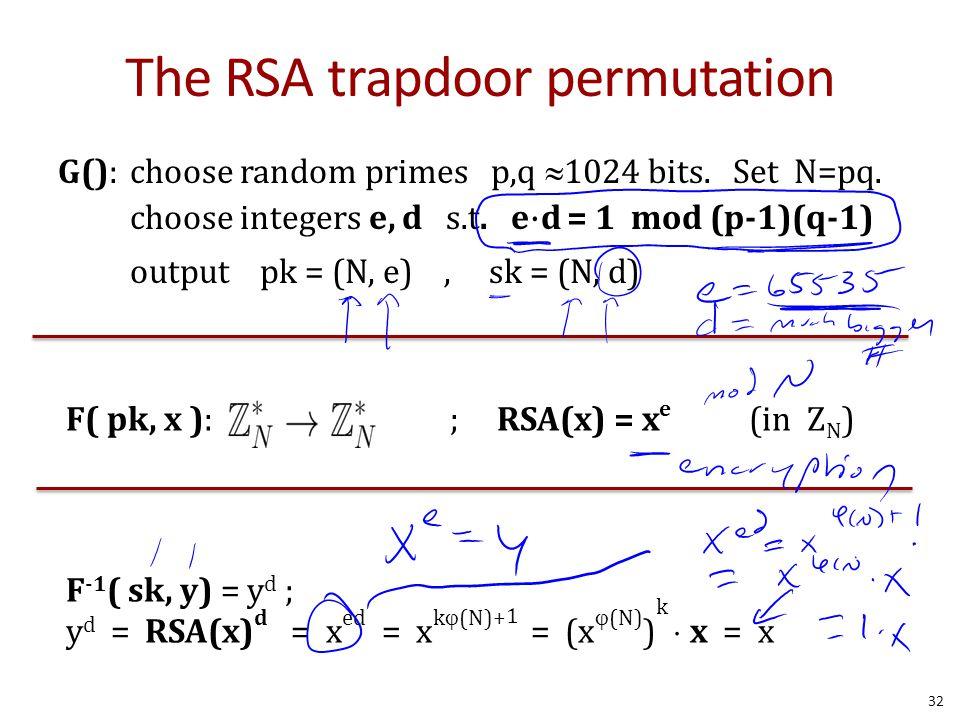 The RSA trapdoor permutation G():choose random primes p,q  1024 bits. Set N=pq. choose integers e, d s.t. e ⋅ d = 1 mod (p-1)(q-1) output pk = (N, e)