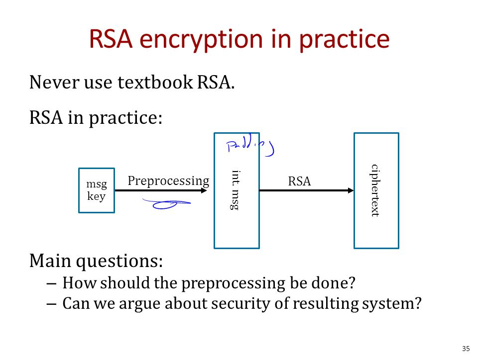 RSA encryption in practice Never use textbook RSA.
