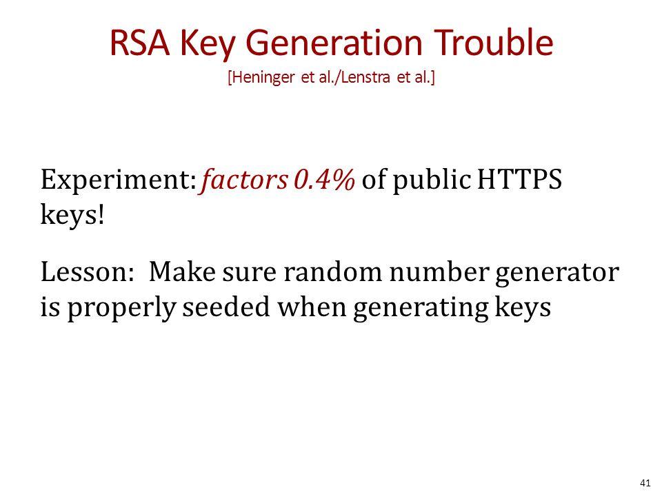 RSA Key Generation Trouble [Heninger et al./Lenstra et al.] Experiment: factors 0.4% of public HTTPS keys! Lesson: Make sure random number generator i