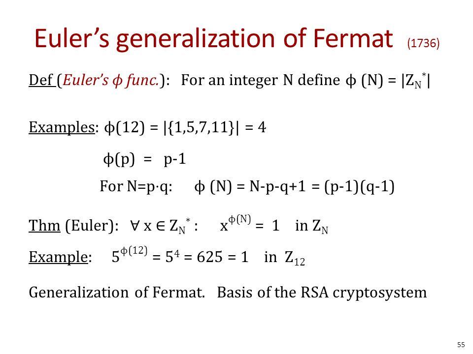 Euler's generalization of Fermat (1736) Def (Euler's ϕ func.): For an integer N define ϕ (N) =  Z N *   Examples: ϕ(12) =  {1,5,7,11}  = 4 ϕ(p) = p-1 For N=p⋅q:ϕ (N) = N-p-q+1 = (p-1)(q-1) Thm (Euler): ∀ x ∈ Z N * : x ϕ(N) = 1 in Z N Example: 5 ϕ(12) = 5 4 = 625 = 1 in Z 12 Generalization of Fermat.