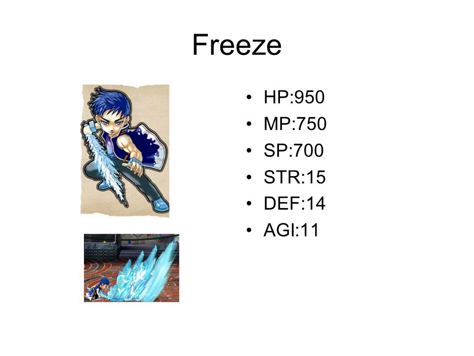 Freeze HP:950 MP:750 SP:700 STR:15 DEF:14 AGI:11