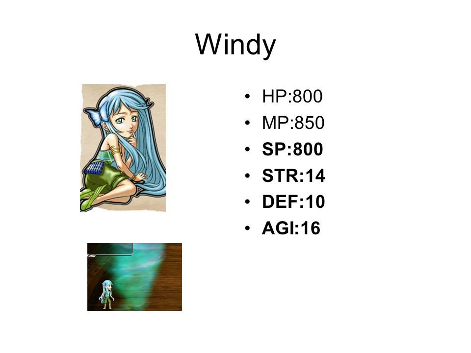 Windy HP:800 MP:850 SP:800 STR:14 DEF:10 AGI:16