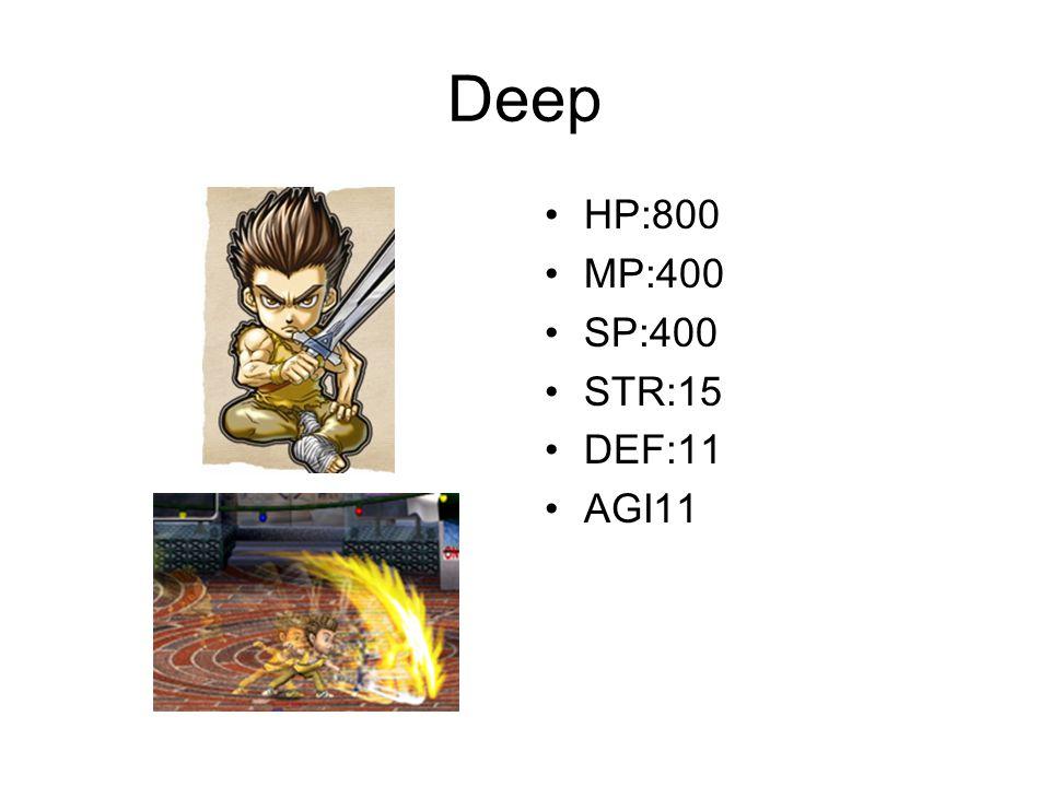 Deep HP:800 MP:400 SP:400 STR:15 DEF:11 AGI11