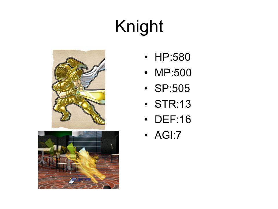 Knight HP:580 MP:500 SP:505 STR:13 DEF:16 AGI:7