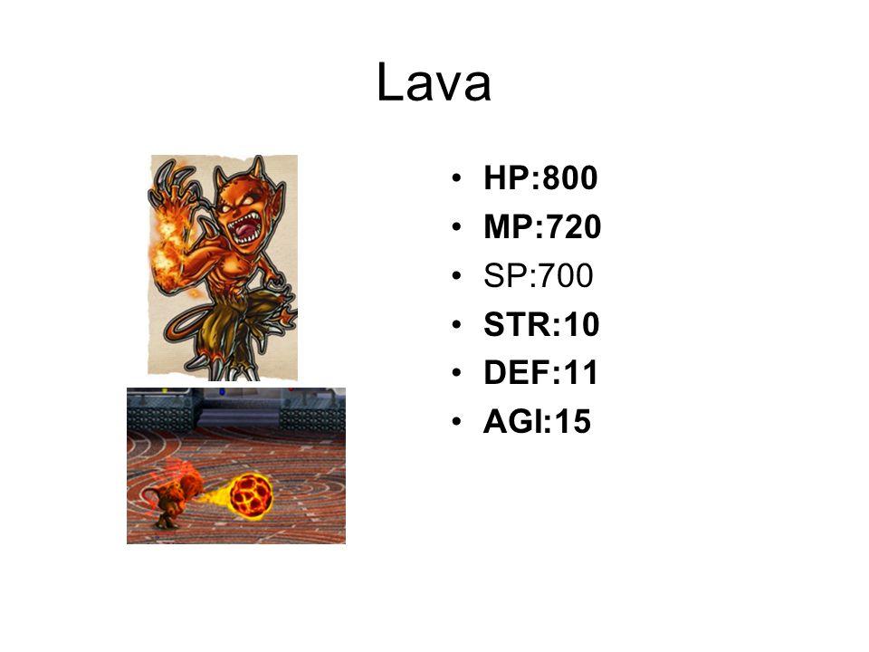 Lava HP:800 MP:720 SP:700 STR:10 DEF:11 AGI:15