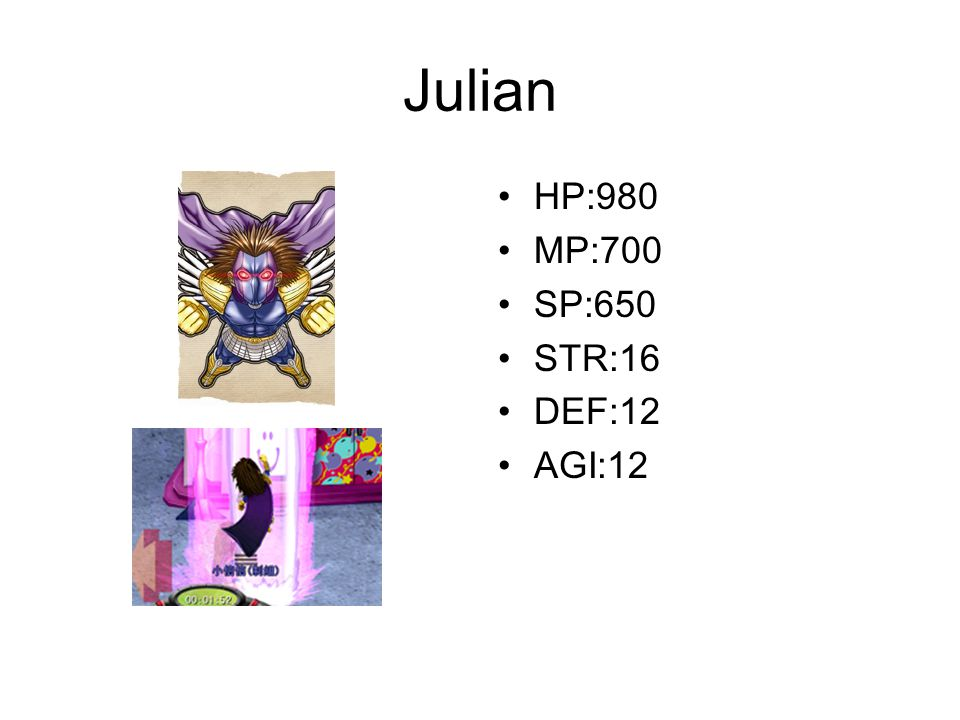 Julian HP:980 MP:700 SP:650 STR:16 DEF:12 AGI:12