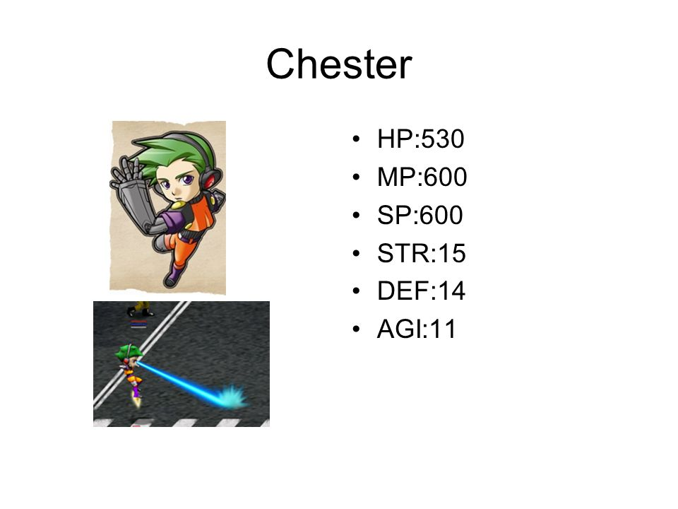 Chester HP:530 MP:600 SP:600 STR:15 DEF:14 AGI:11