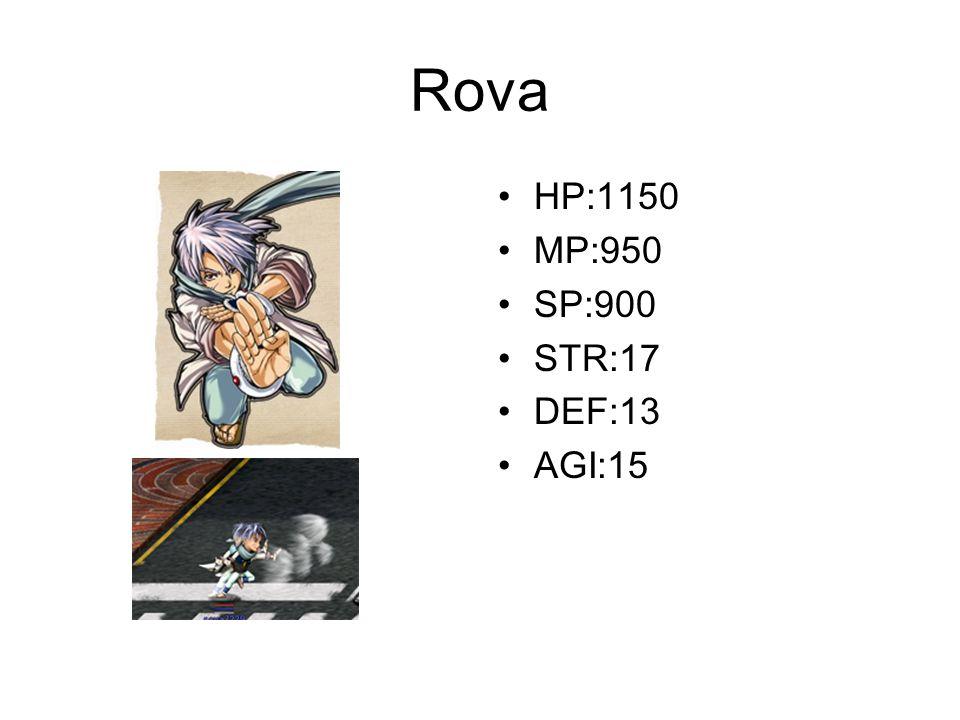 Rova HP:1150 MP:950 SP:900 STR:17 DEF:13 AGI:15