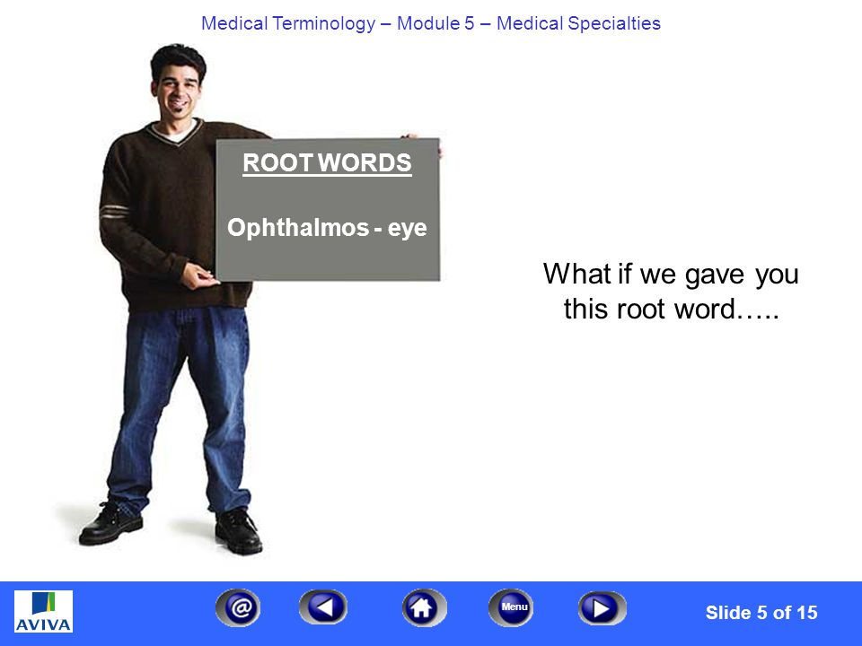 Menu Medical Terminology – Module 5 – Medical Specialties Pick a Box Based on the previous page, which one of these terms below means eye specialist.