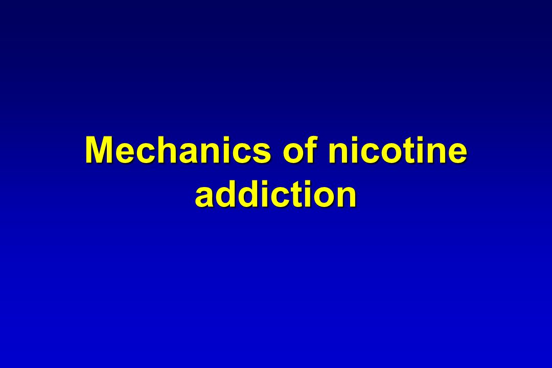 Plasma nicotine levels – contrast between cigarettes and NRT Plasma nicotine (ng/ml) 25 20 15 10 5 0 1002040305060 Cigarette Spray Gum/Inhalator/Tablet/lozenge Patch Time (minutes) Adapted from: Tobacco Advisory Group of the Royal College of Physicians 2000.