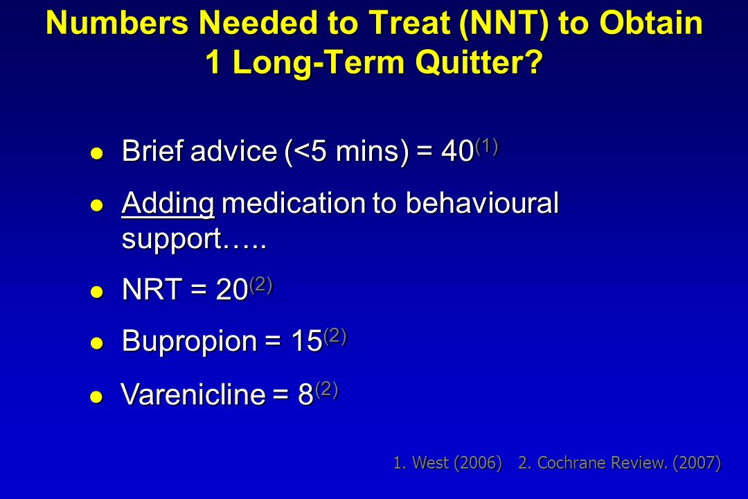 Numbers Needed to Treat (NNT) to Obtain 1 Long-Term Quitter.