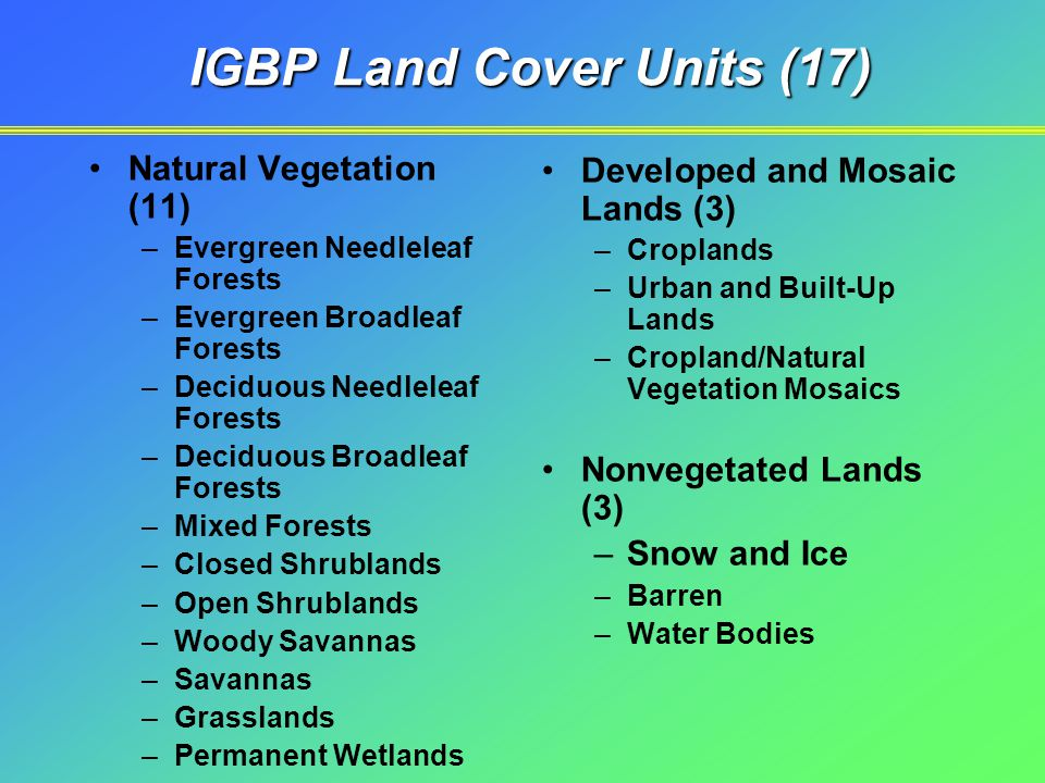 IGBP Land Cover Units (17) Natural Vegetation (11) –Evergreen Needleleaf Forests –Evergreen Broadleaf Forests –Deciduous Needleleaf Forests –Deciduous Broadleaf Forests –Mixed Forests –Closed Shrublands –Open Shrublands –Woody Savannas –Savannas –Grasslands –Permanent Wetlands Developed and Mosaic Lands (3) –Croplands –Urban and Built-Up Lands –Cropland/Natural Vegetation Mosaics Nonvegetated Lands (3) –Snow and Ice –Barren –Water Bodies