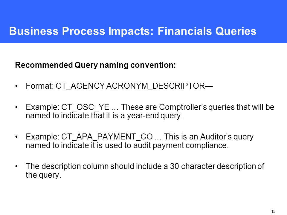 15 Business Process Impacts: Financials Queries Recommended Query naming convention: Format: CT_AGENCY ACRONYM_DESCRIPTOR— Example: CT_OSC_YE … These are Comptroller's queries that will be named to indicate that it is a year-end query.