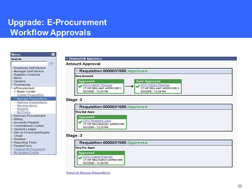 22 Upgrade: E-Procurement Workflow Approvals