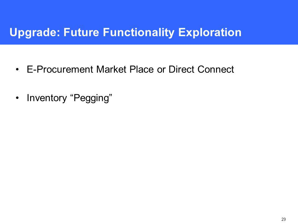 29 Upgrade: Future Functionality Exploration E-Procurement Market Place or Direct Connect Inventory Pegging