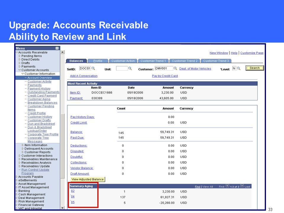 33 Upgrade: Accounts Receivable Ability to Review and Link