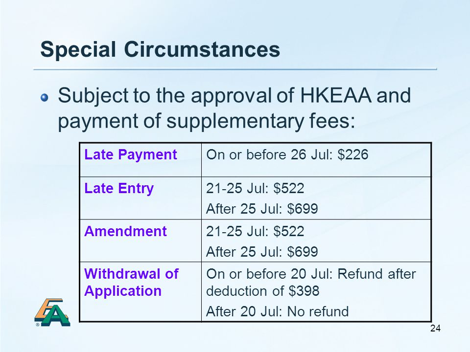24 Special Circumstances Subject to the approval of HKEAA and payment of supplementary fees: Late PaymentOn or before 26 Jul: $226 Late Entry21-25 Jul: $522 After 25 Jul: $699 Amendment21-25 Jul: $522 After 25 Jul: $699 Withdrawal of Application On or before 20 Jul: Refund after deduction of $398 After 20 Jul: No refund