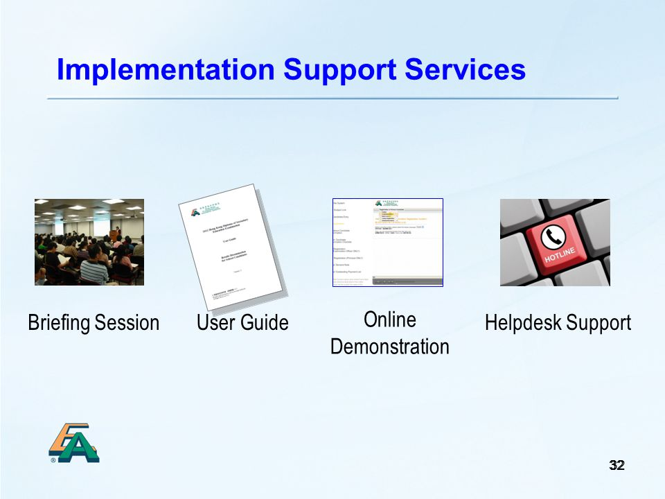32 Implementation Support Services Briefing SessionUser Guide Online Demonstration Helpdesk Support