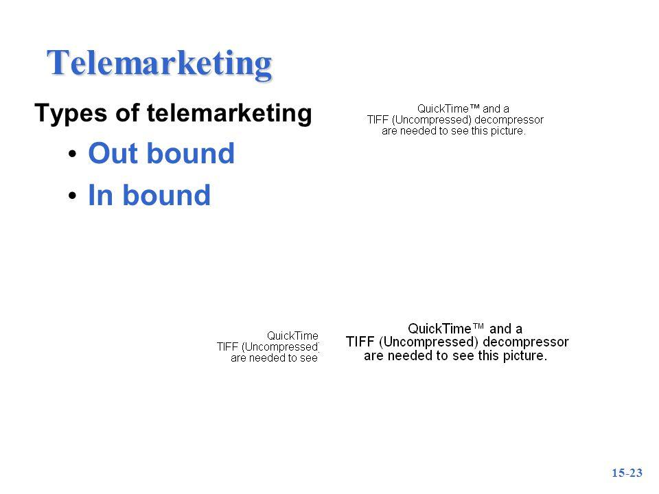 15-23 Telemarketing Types of telemarketing Out bound In bound