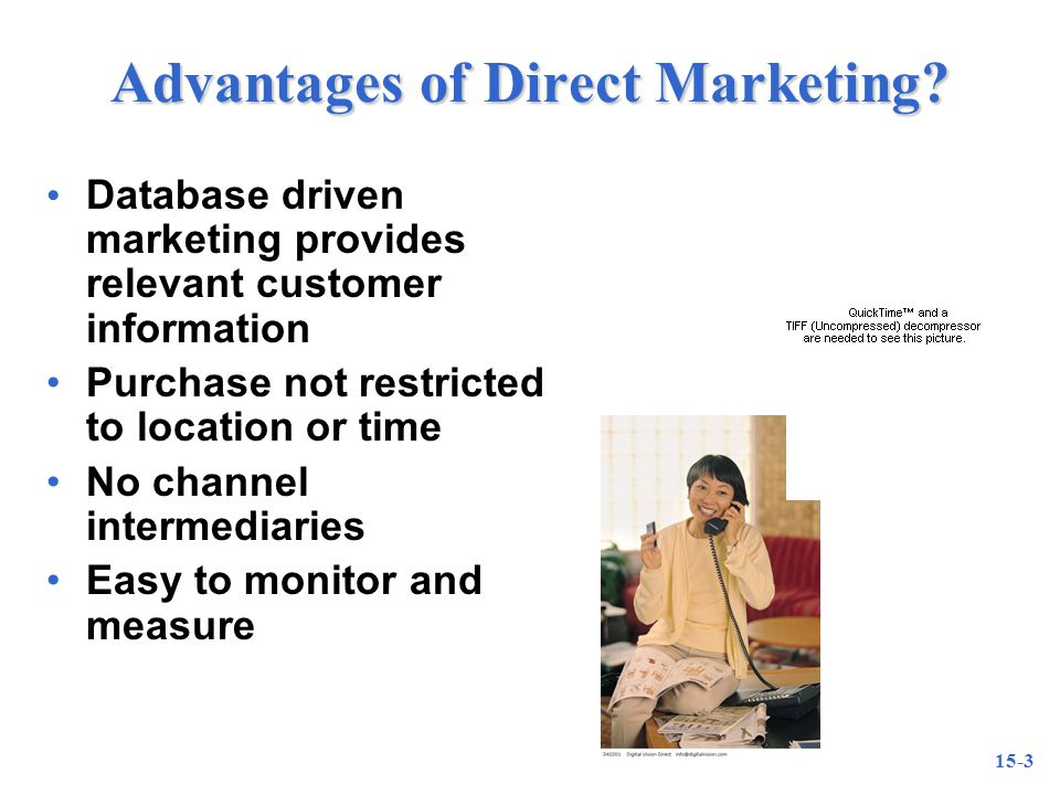 15-3 Advantages of Direct Marketing.