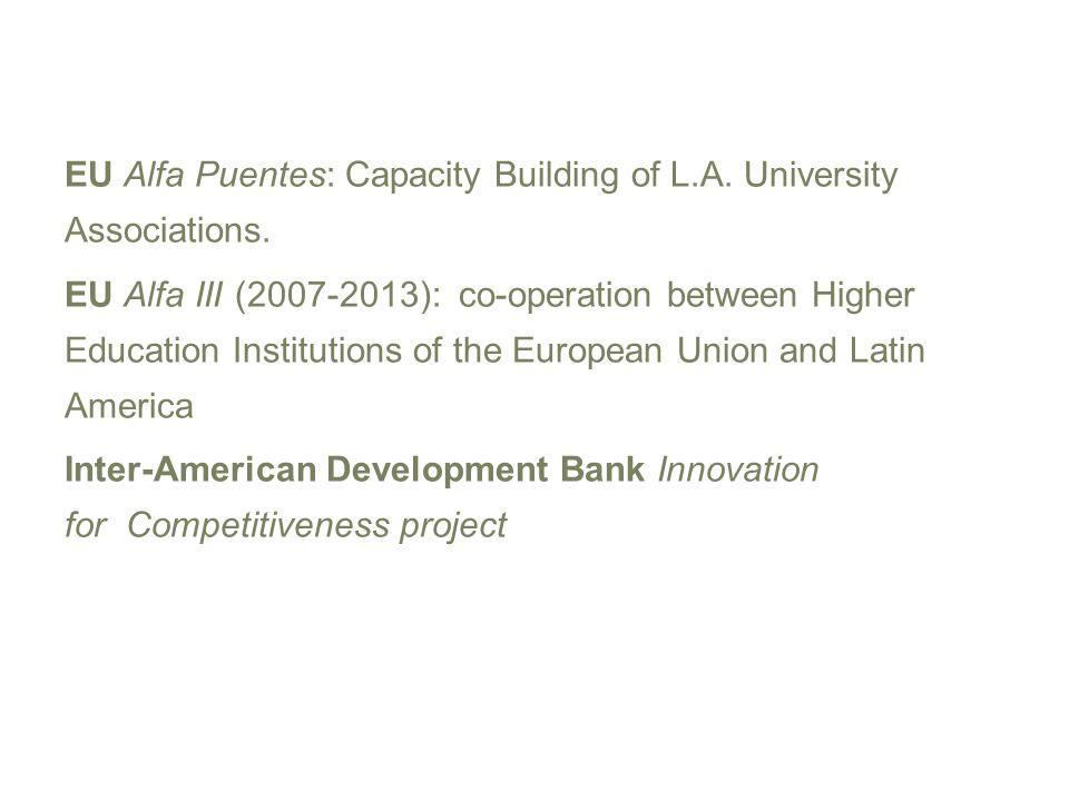 EU Alfa Puentes: Capacity Building of L.A. University Associations. EU Alfa III (2007-2013): co-operation between Higher Education Institutions of the