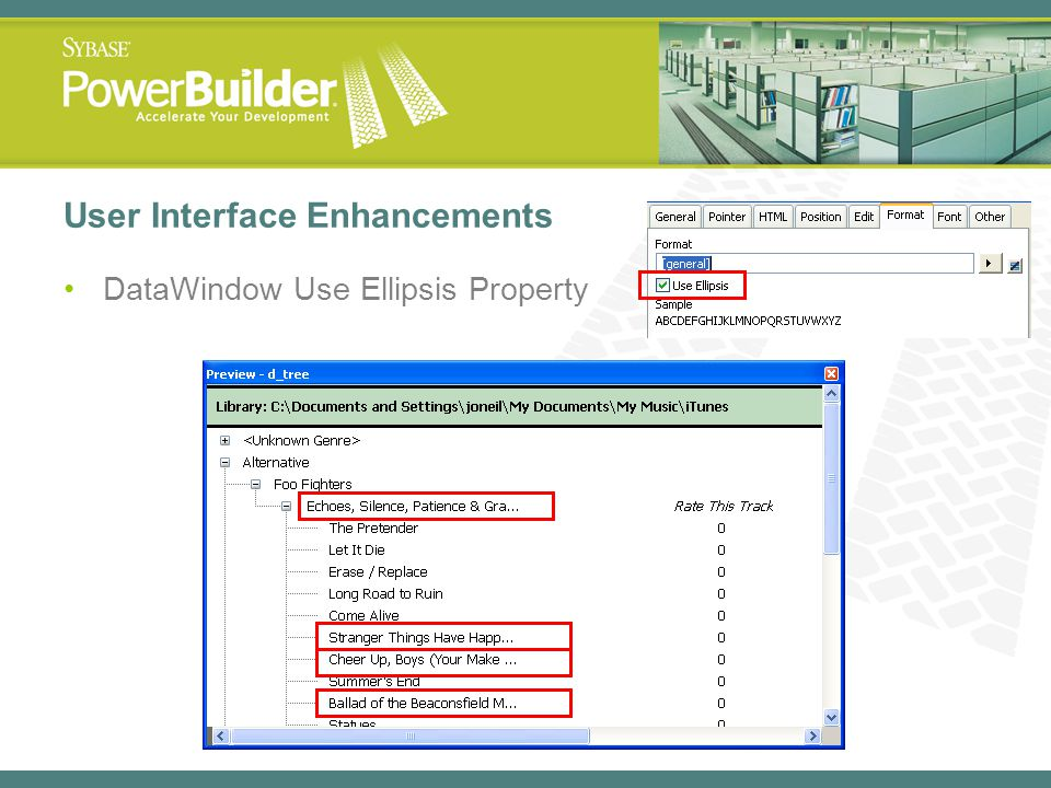 User Interface Enhancements DataWindow Use Ellipsis Property