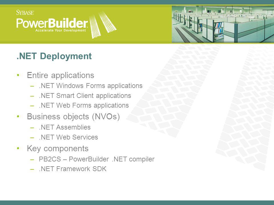 .NET Deployment Entire applications –.NET Windows Forms applications –.NET Smart Client applications –.NET Web Forms applications Business objects (NV