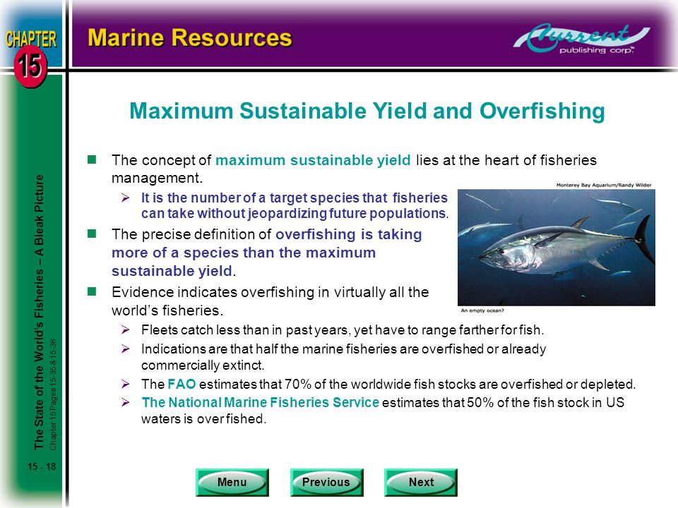 MenuPreviousNext 15 - 18 Maximum Sustainable Yield and Overfishing nThe concept of maximum sustainable yield lies at the heart of fisheries management.