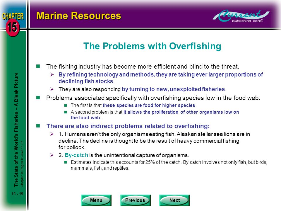MenuPreviousNext 15 - 19 The Problems with Overfishing nThe fishing industry has become more efficient and blind to the threat.