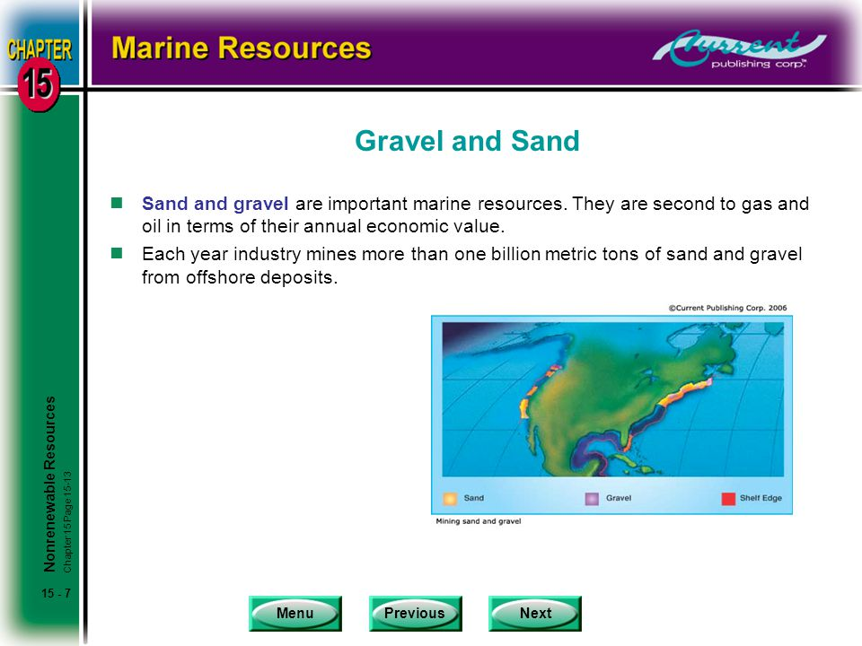 MenuPreviousNext 15 - 7 Gravel and Sand nSand and gravel are important marine resources.