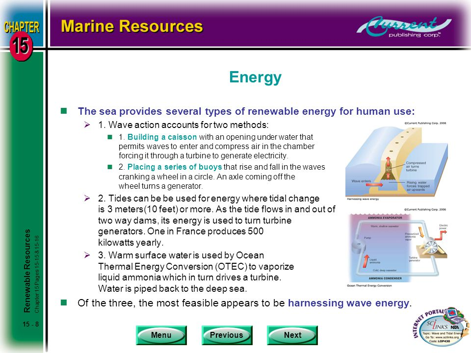 MenuPreviousNext 15 - 8 Energy nThe sea provides several types of renewable energy for human use:  1.