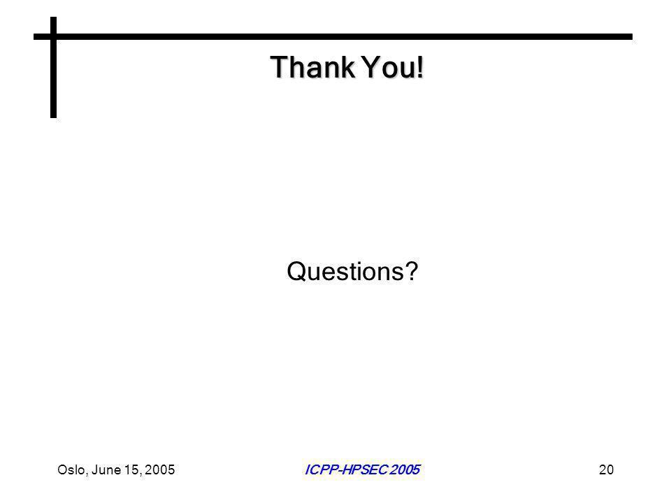 Oslo, June 15, 2005ICPP-HPSEC 200520 Thank You! Questions