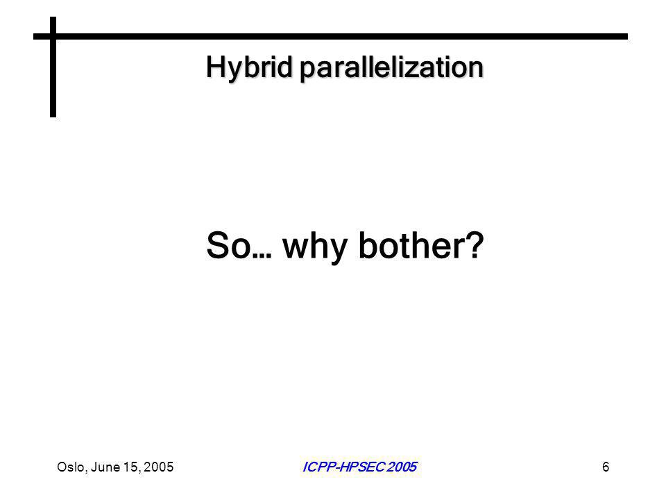 Oslo, June 15, 2005ICPP-HPSEC 20056 Hybrid parallelization So… why bother?