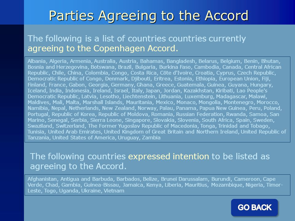 Parties Agreeing to the Accord The following is a list of countries countries currently agreeing to the Copenhagen Accord.