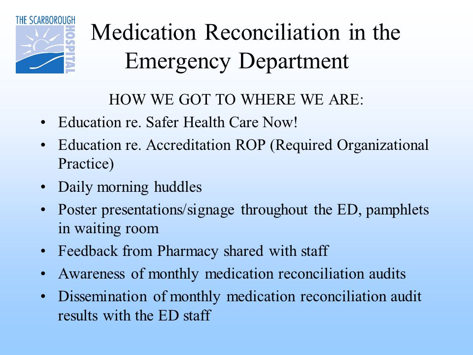 Medication Reconciliation in the Emergency Department HOW WE GOT TO WHERE WE ARE: Education re.