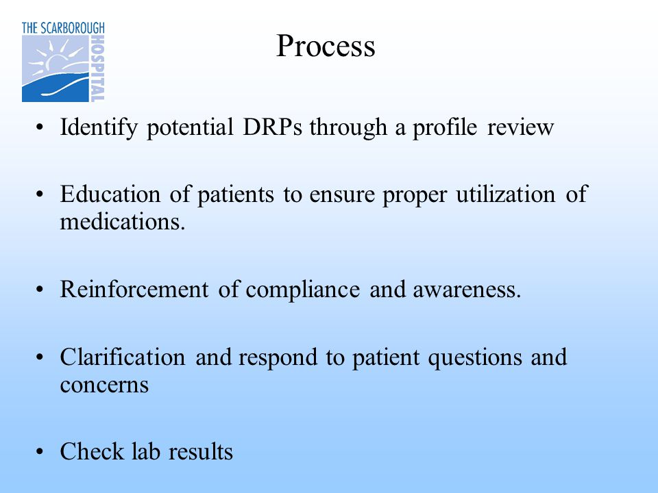 Process Identify potential DRPs through a profile review Education of patients to ensure proper utilization of medications.