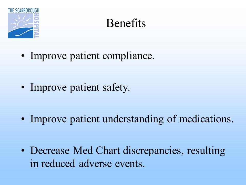 Benefits Improve patient compliance. Improve patient safety.